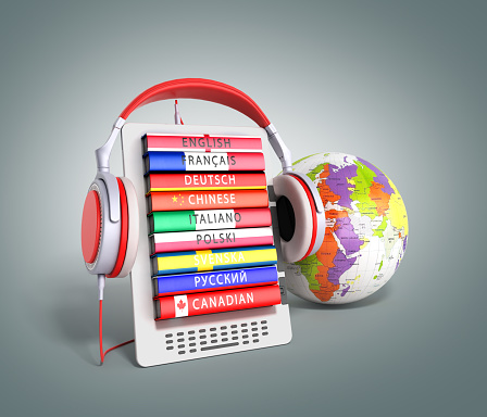 e-book with globe audio learning languages