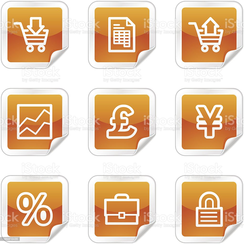 E-business web icons, orange glossy sticker series royalty-free stock vector art