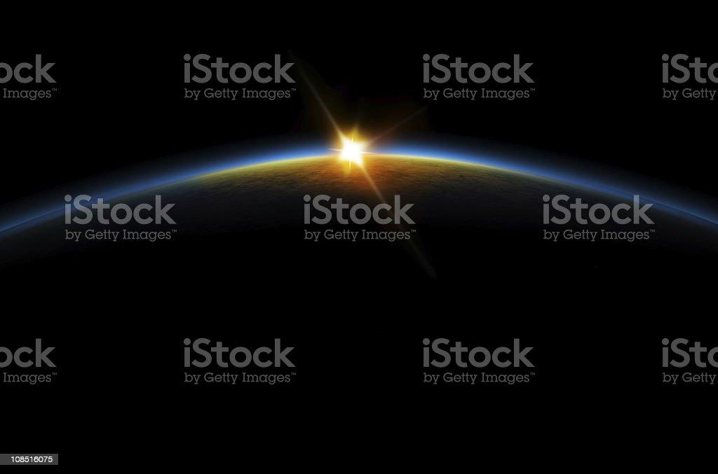 Eclipse - Lunar sunrise vector art illustration
