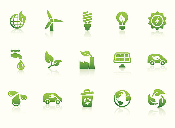 eco friendly icons - energy saving stock illustrations, clip art, cartoons, & icons