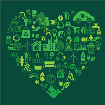 eco green icons in heart shape