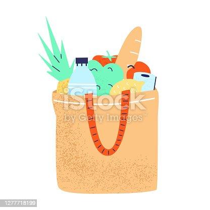 istock Eco Shopper Full Of Groceries. 1277718199