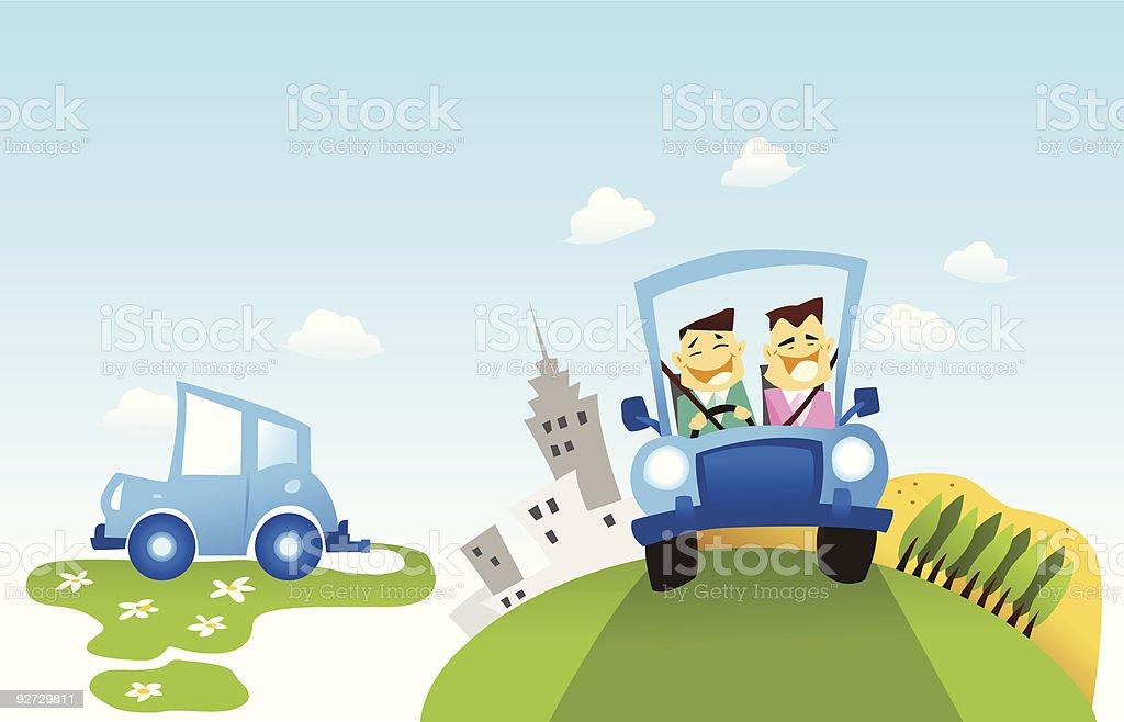 Ecología de automóviles - ilustración de arte vectorial