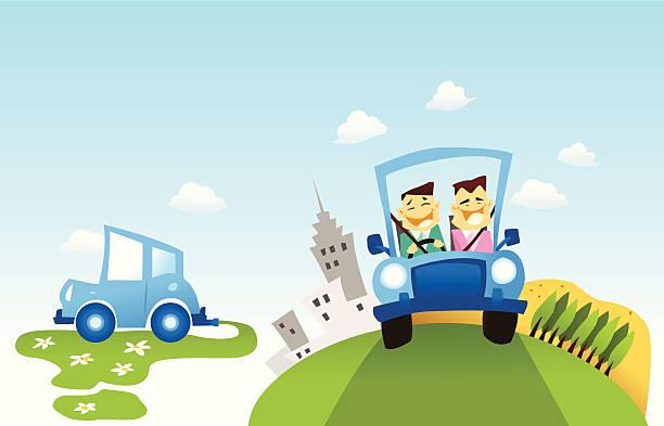 illustrations, cliparts, dessins animés et icônes de écologique de voitures - covoiturage