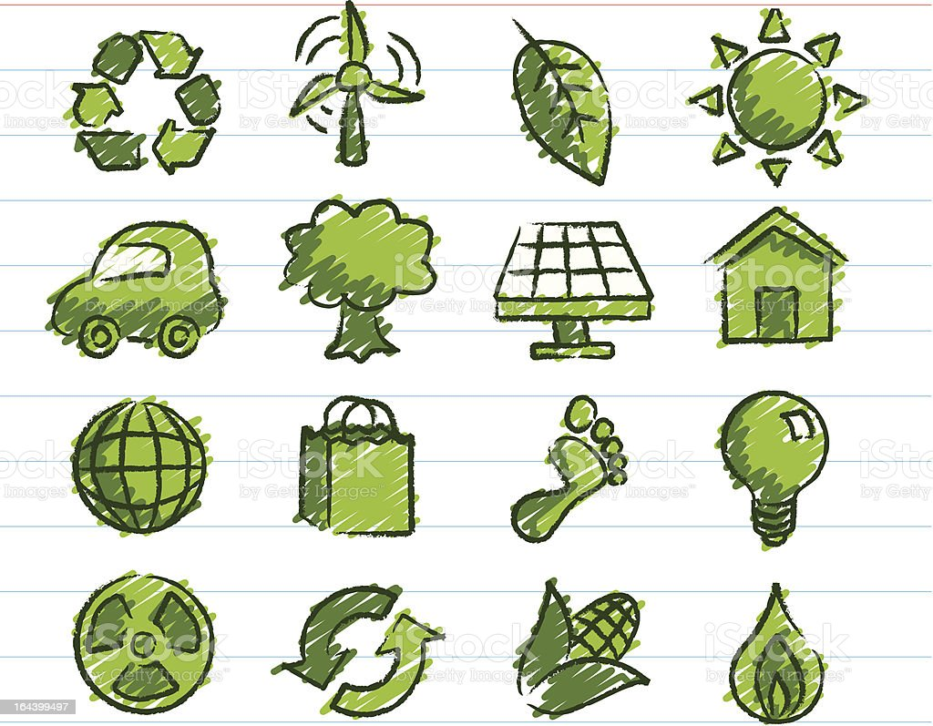 Eco-Friendly Icons Drawn with Crayon royalty-free stock vector art