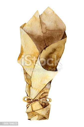 Eco-friendly kraft paper roll, paper cone bags. Hand made packaging for snacks, street food, gifts and souvenirs, flowers. Hand drawn watercolor illustration isolated on white background