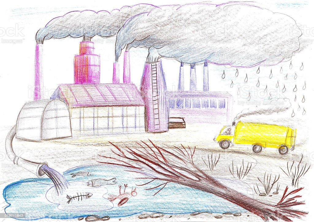 Ecological drawing on the theme of environmental pollution vector art illustration