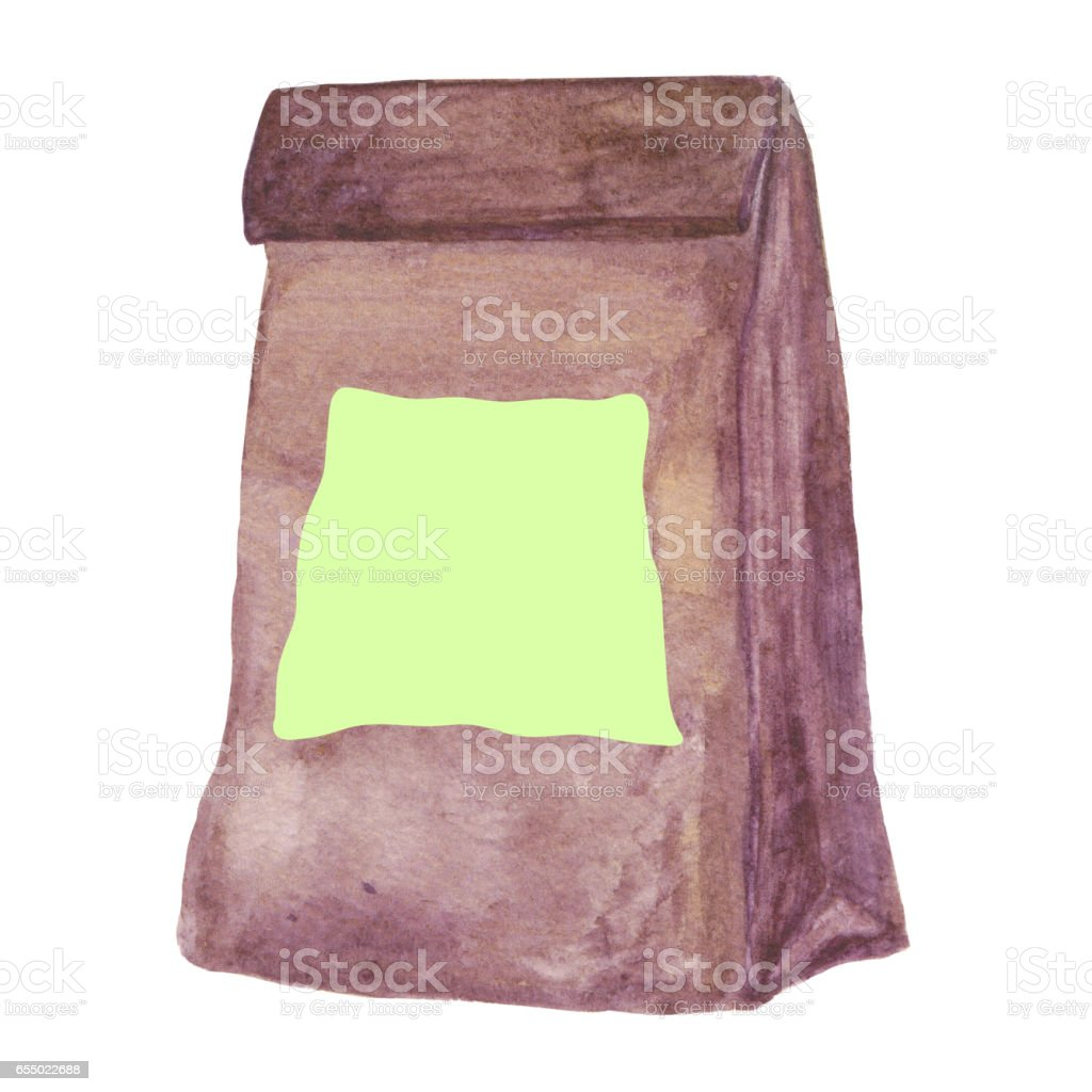 Ecological package. Eco friendly simple brown Craft Paper bag. vector art illustration