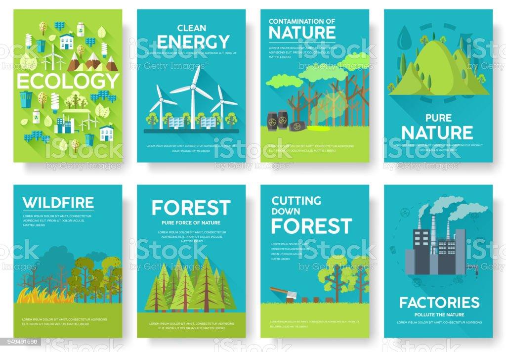 Ilustración de Conjunto De Tarjetas De Información De Ecología ...