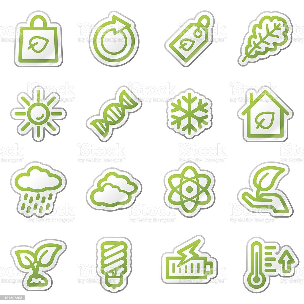 Ecology web icons set 3, green sticker series royalty-free stock vector art