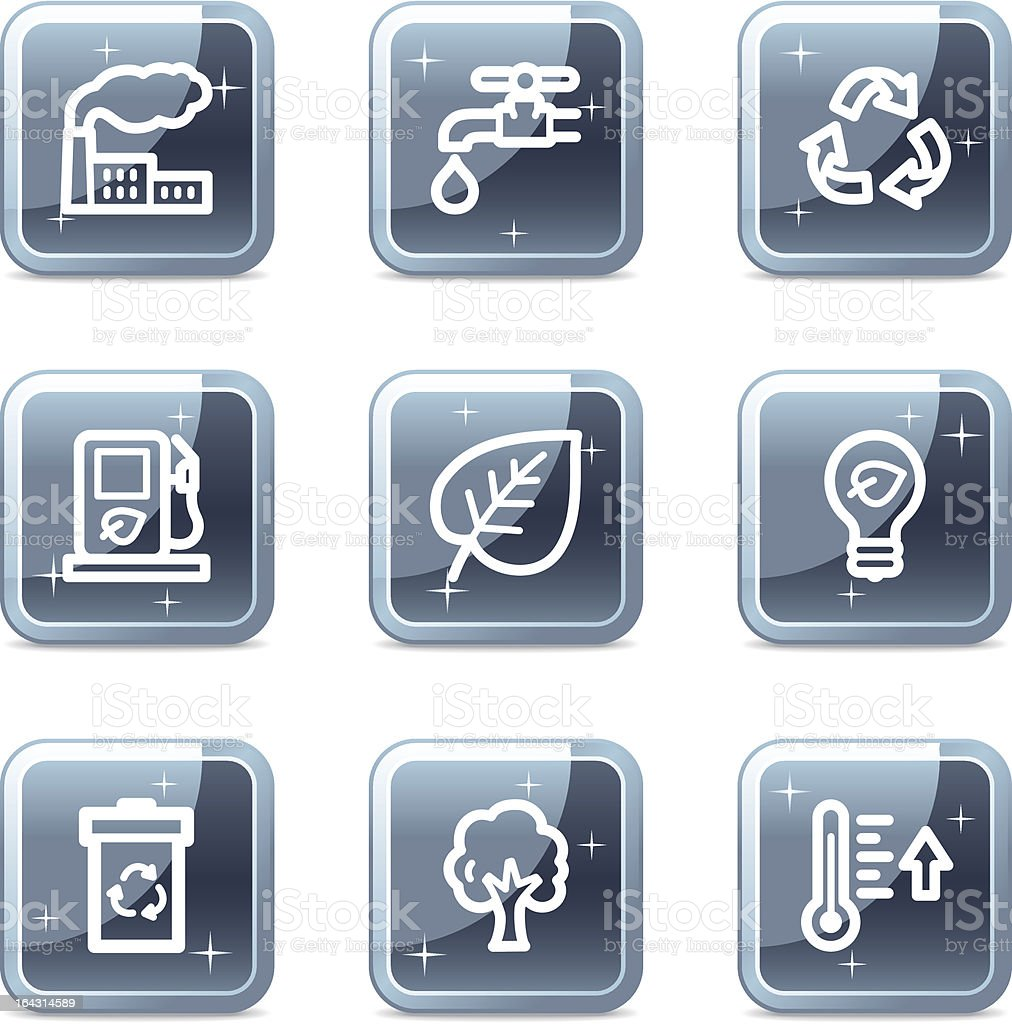 Ecology web icons, square blue mineral buttons series royalty-free ecology web icons square blue mineral buttons series stock vector art & more images of biofuel