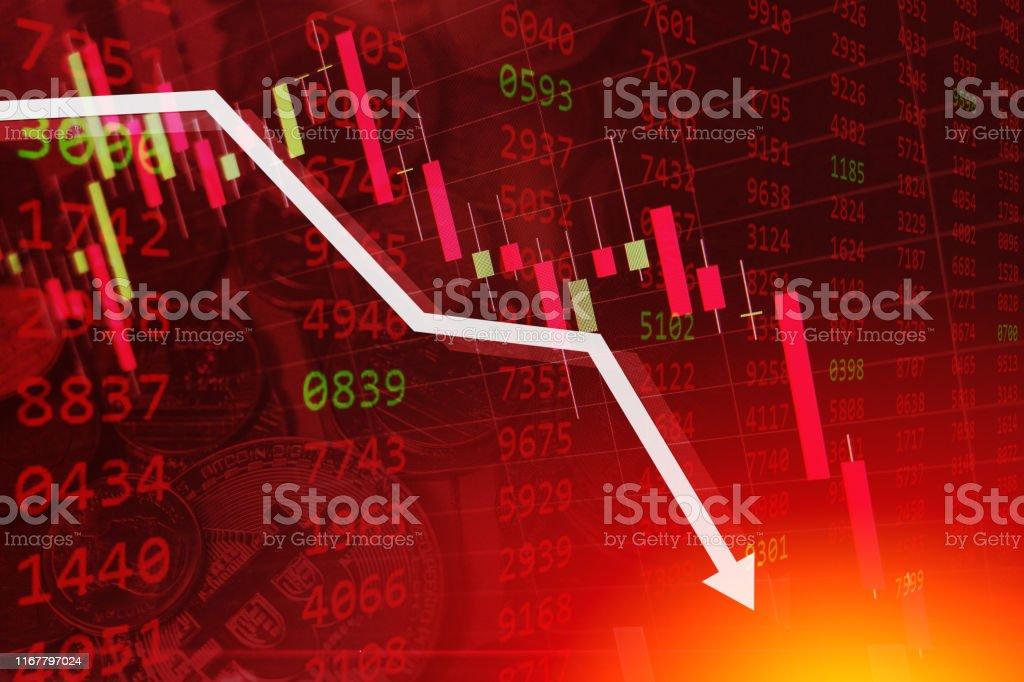 economische crisis Aandelengrafiek vallen Business Global geld faillissement concept - Royalty-free Achtergrond - Thema Stockillustraties