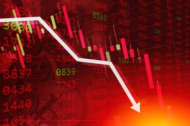 ilustrações, clipart, desenhos animados e ícones de crise econômica estoque gráfico caindo para baixo negócio global dinheiro falência conceito - economia