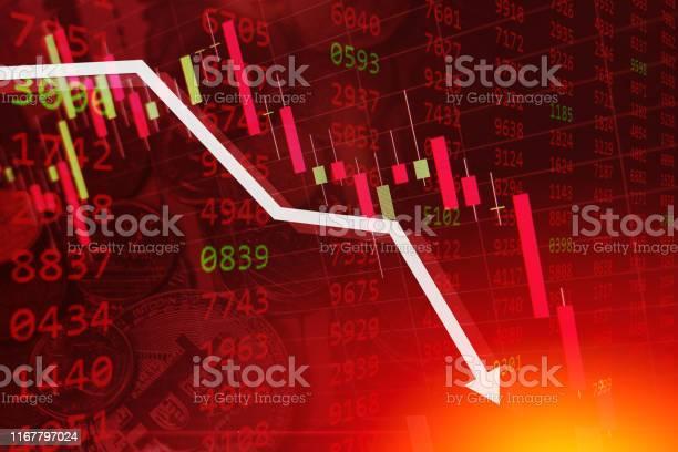 Economische Crisis Aandelengrafiek Vallen Business Global Geld Faillissement Concept Stockvectorkunst en meer beelden van Achtergrond - Thema