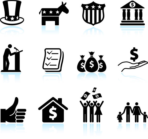 Economic recovery in America black and white vector icon set Economic recovery in America black and white set stimulus check stock illustrations