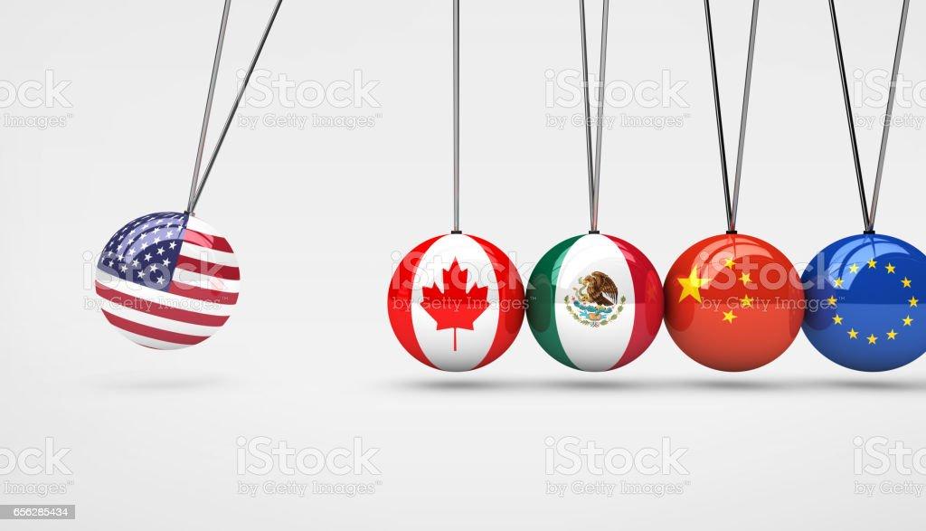米国経済グローバル市場取引への影響の概念 ベクターアートイラスト