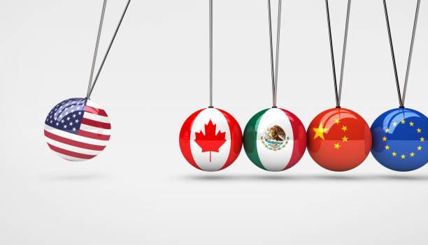 米国経済グローバル市場取引への影響の概念 - メキシコの国旗点のイラスト素材/クリップアート素材/マンガ素材/アイコン素材