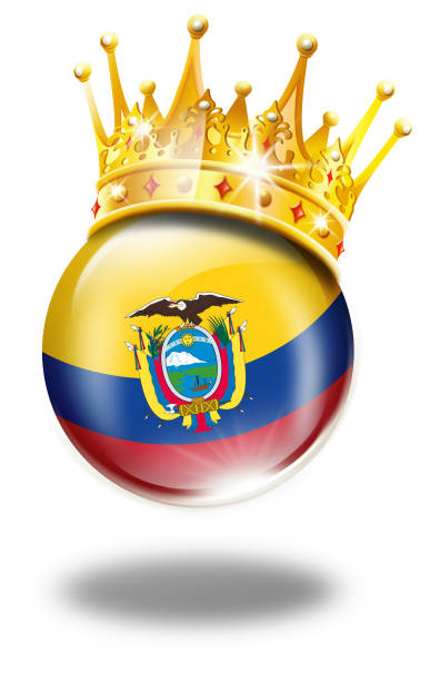 エクアドルの旗、優勝冠白で隔離エクアドル ボタン ベクターアートイラスト