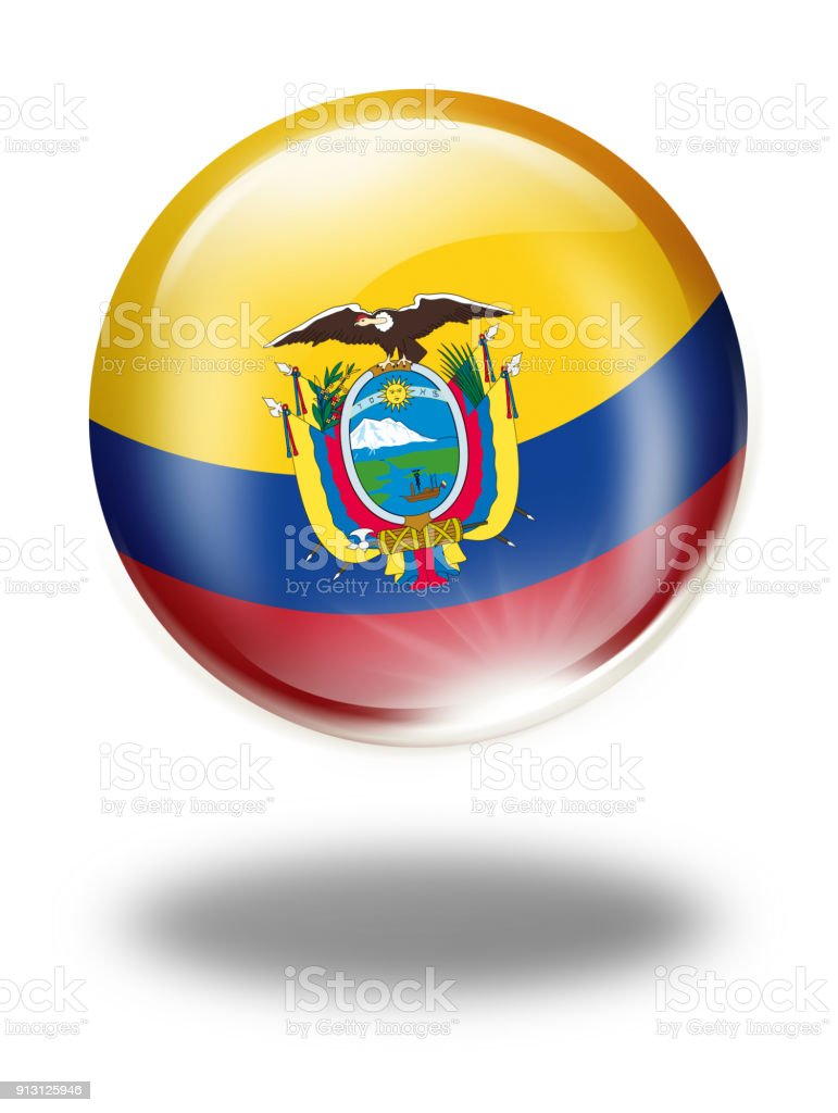 Ecuador button with flag isolated on white vector art illustration