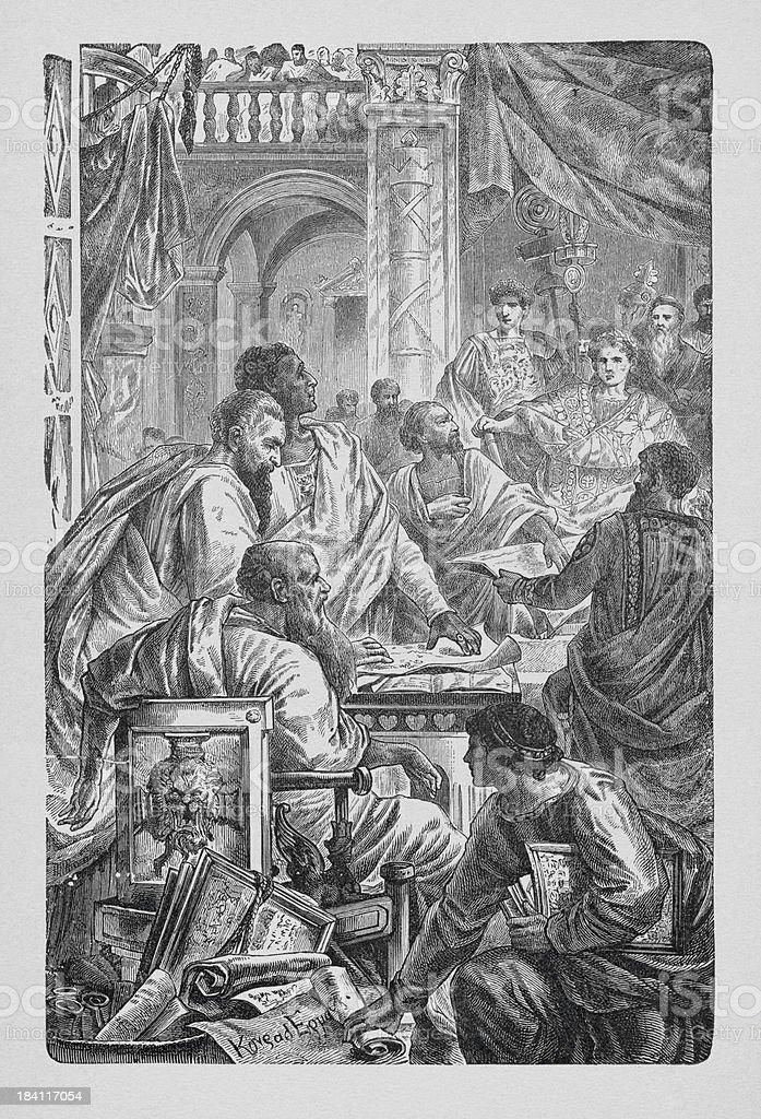 Ecumenical council of Nicea vector art illustration