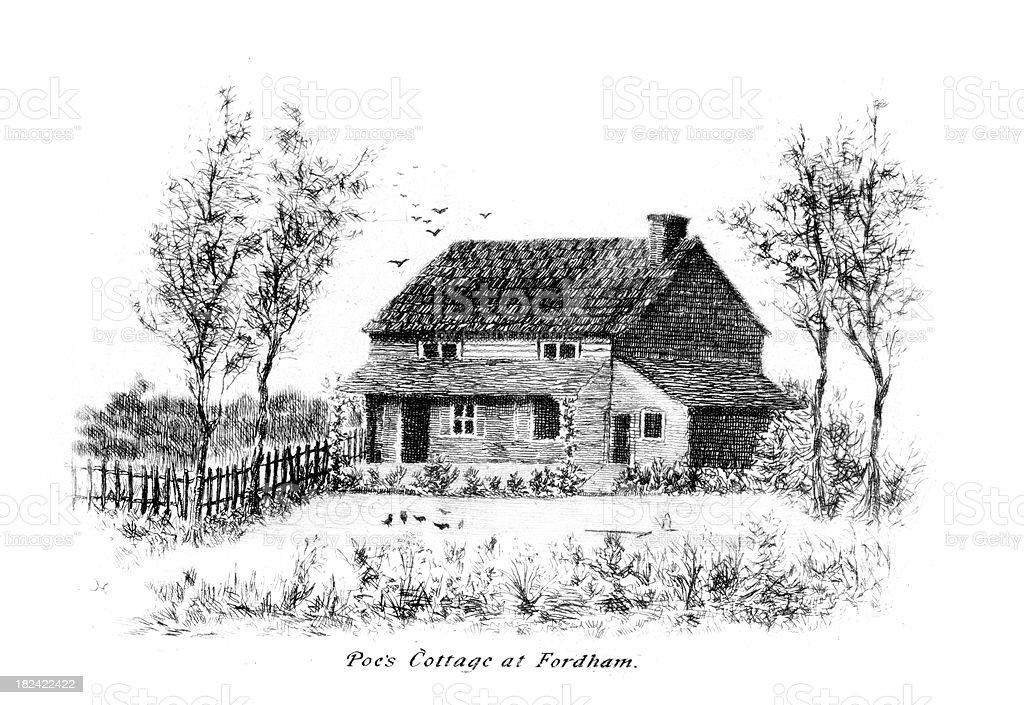 Edgar Allan Poe's Cottage at Fordham vector art illustration