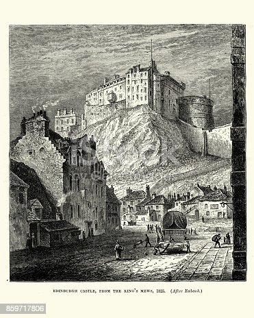 Vintage engraving of Edinburgh Castle, from the King's Mews, 1825
