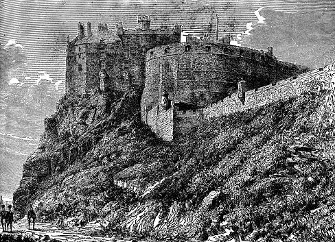 Edinburgh Castle in Edinburgh, Scotland. Vintage etching circa 19th century.