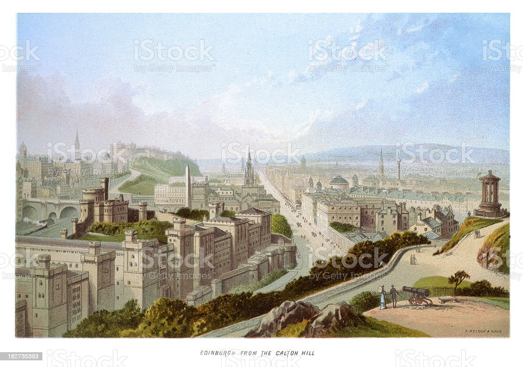 Edinburgh in the 19th Century royalty-free stock vector art