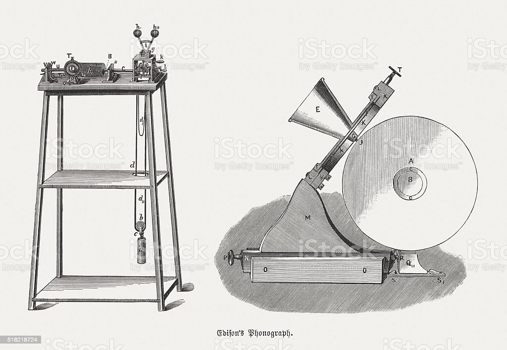 Edison's Phonograph from 1879, wood engravings, published in 1880 vector art illustration