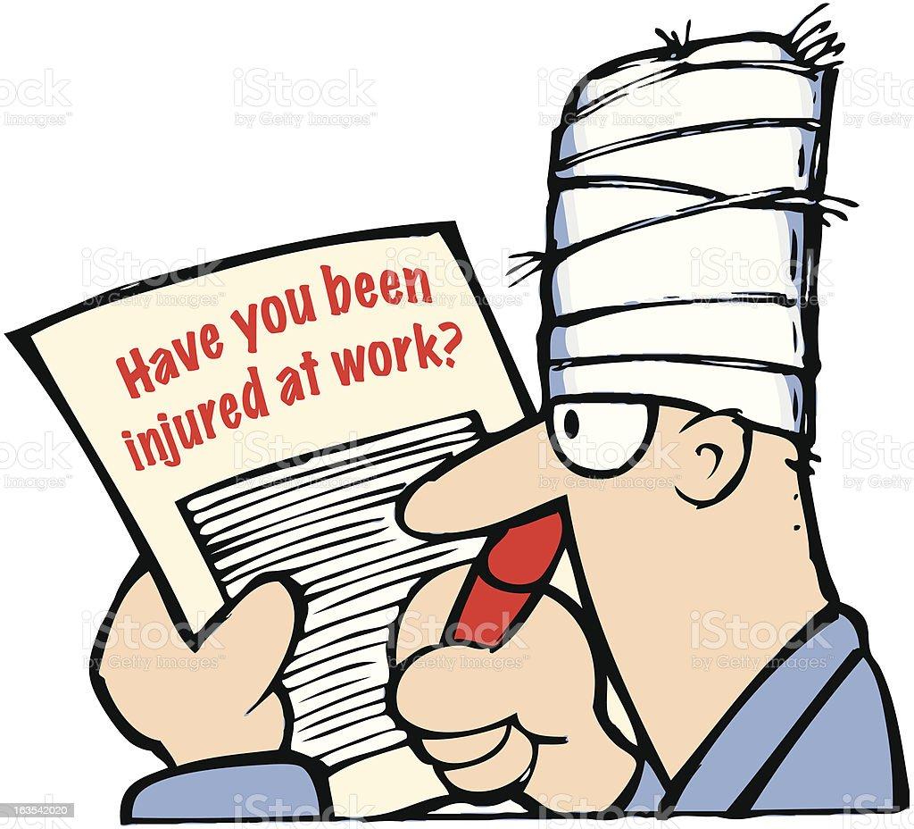 Editable cartoon illustration of man with bandaged head royalty-free stock vector art