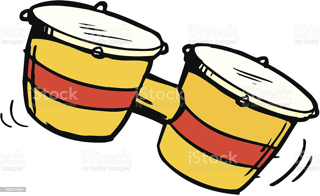 Editable Cartoon illustration set of bongos vector art illustration