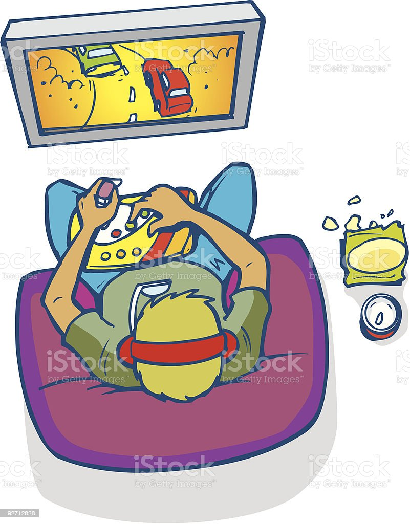 Editable Illustration of boy playing video game