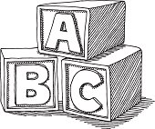 Hand-drawn vector sketch of ABC Letter Blocks. Concept image for Education. Black-and-White sketch on a transparent background (.eps-file). Included files: EPS (v8) and Hi-Res JPG.