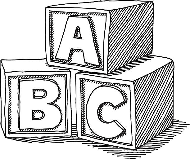 Education ABC Blocks Drawing Hand-drawn vector sketch of ABC Letter Blocks. Concept image for Education. Black-and-White sketch on a transparent background (.eps-file). Included files: EPS (v8) and Hi-Res JPG. alphabet clipart stock illustrations