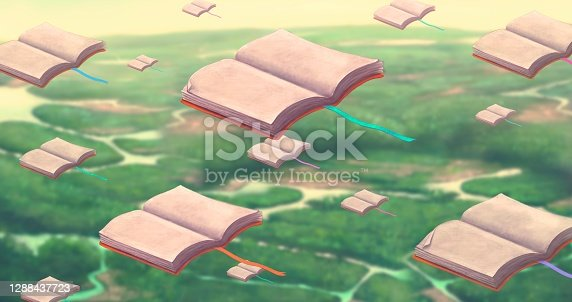 istock Education dream and learning concept, imagination of flying books in sky, surreal artwork, conceptual painting illustration 1288437723