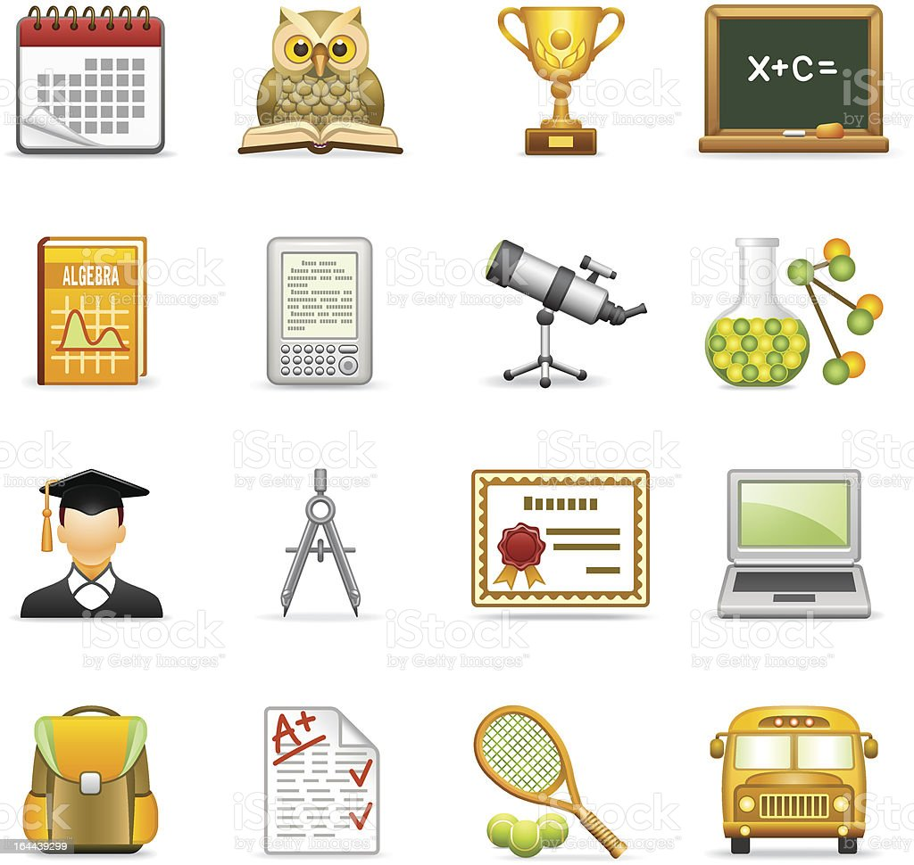 Education icons. royalty-free stock vector art