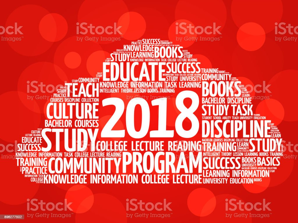 2018 Education word cloud collage vector art illustration