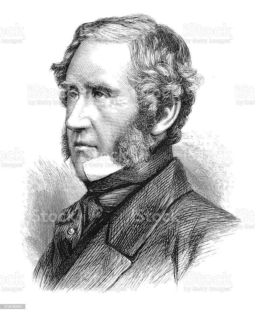 Edward Gordon Douglas-Pennant (1800-1886) (engraving) vector art illustration
