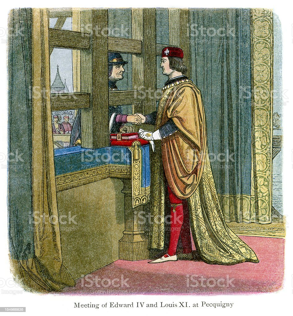 Edward IV and King Louis XI of France royalty-free stock vector art