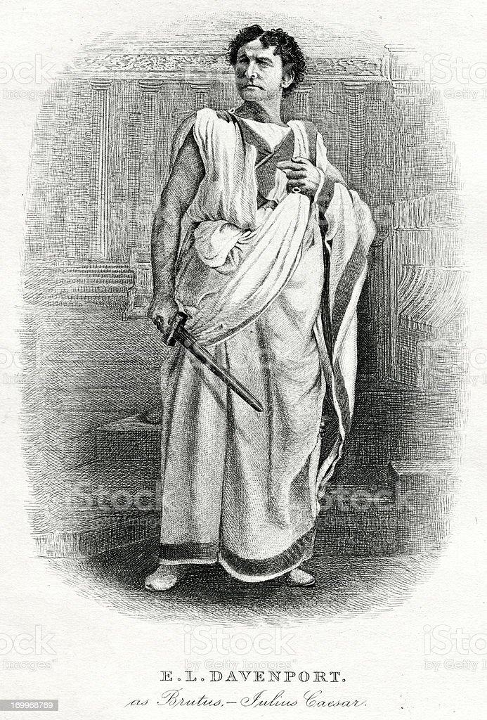 Edward Loomis Davenport As The Shakespeare Character Brutus vector art illustration