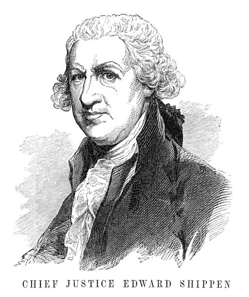 Edward Shippen Edward Shippen - Scanned 1855 Engraving chief justice stock illustrations