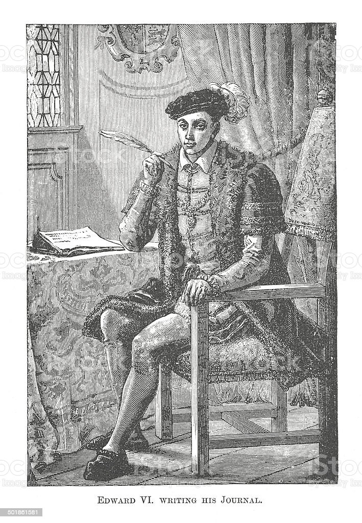 Edward VI writing his Journal (antique engraving) royalty-free stock vector art