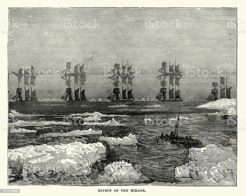 Effect of a mirage in the Arctic vector art illustration