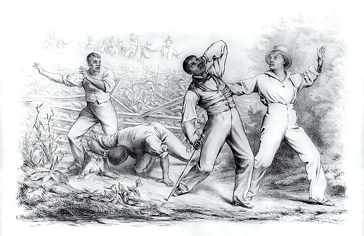 Vintage illustration shows a group of four black men, possibly freedmen, ambushed by a posse of six armed whites in a cornfield. The Fugitive Slave Act passed by Congress in September 1850 allowed slave-hunters to seize alleged fugitive slaves without due process of law and prohibited anyone from aiding escaped fugitives or obstructing their recovery. The law threatened the safety of all blacks, slave and free, and forced many Northerners to become more defiant in their support of fugitives.