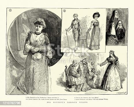 Vintage engraving of Effie Bancroft's Tableaux vivants, Victorian actress. Marie Effie Wilton, Lady Bancroft (1839–1921) was an English actress and theatre manager.