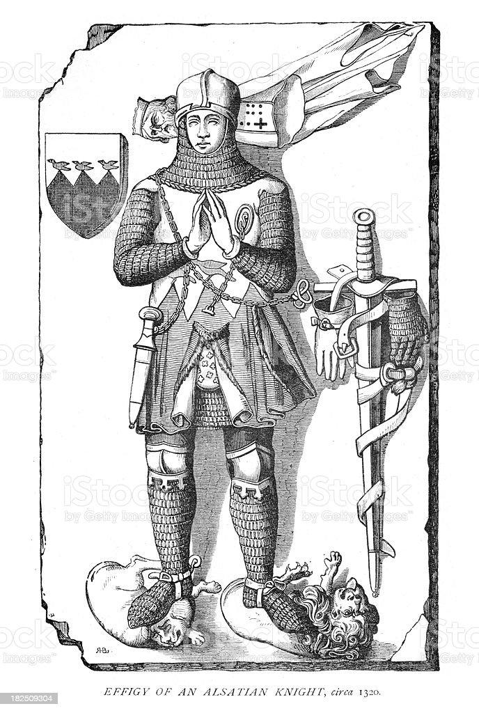 Effigy of an Alsatian Knight 14th Century royalty-free stock vector art