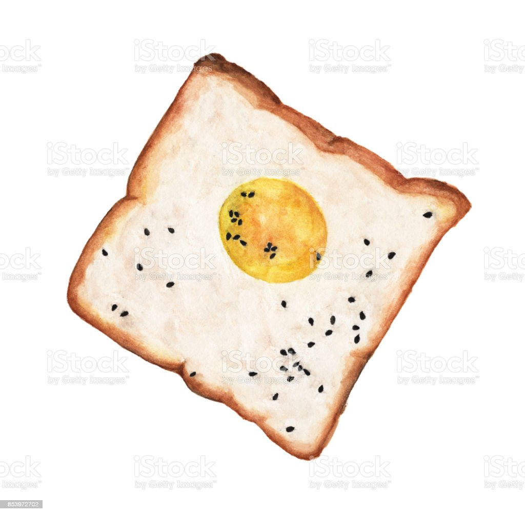 Egg on toast with black sesame seeds isolated on white background. Watercolor illustration For Food Design. vector art illustration