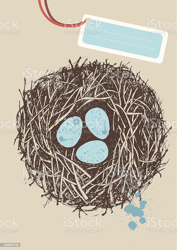 Eggs in Nest vector art illustration
