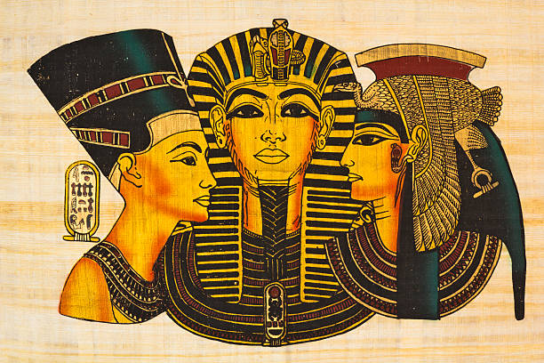 "Egyptian ancient papyrus ""Cleopatra, Nefertiti and Rameses II- Egyptian ancient papyrus See more EGYPT images here:"" ancient egyptian culture stock illustrations"