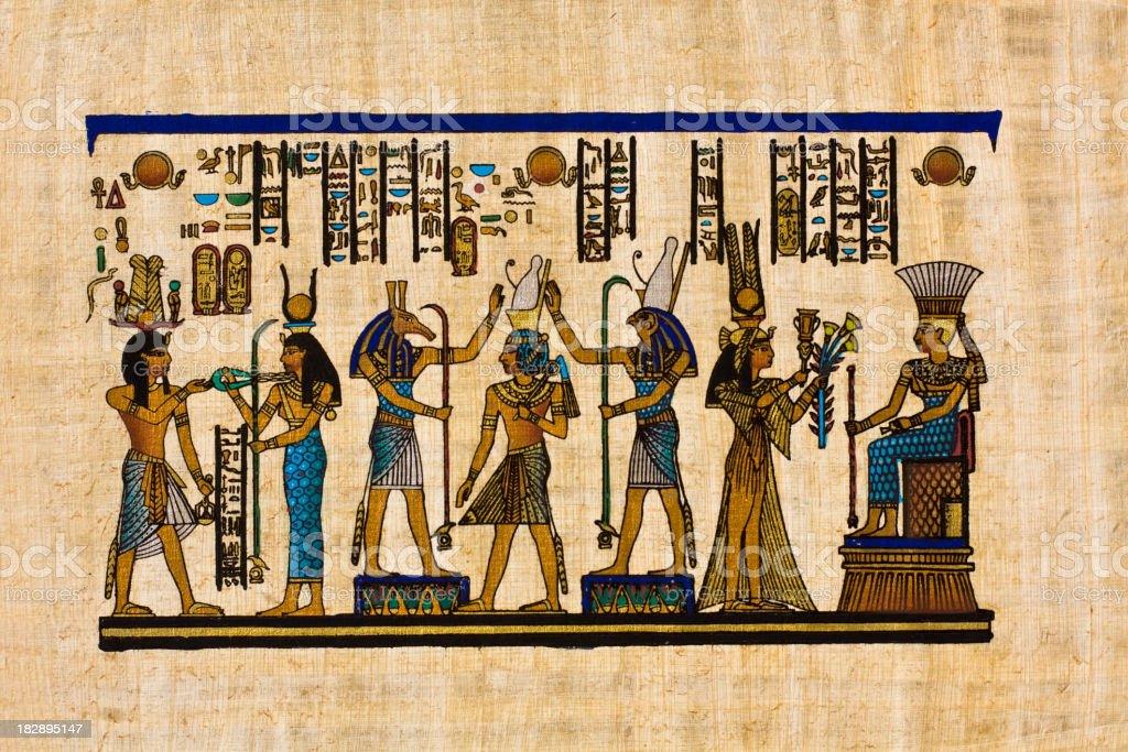 Egyptian ancient papyrus vector art illustration